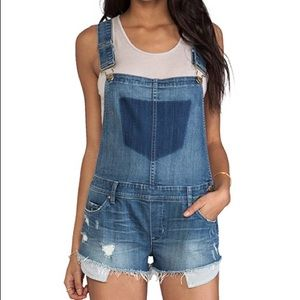 Blank NYC Distressed Overall Shorts w/ Striped Poc
